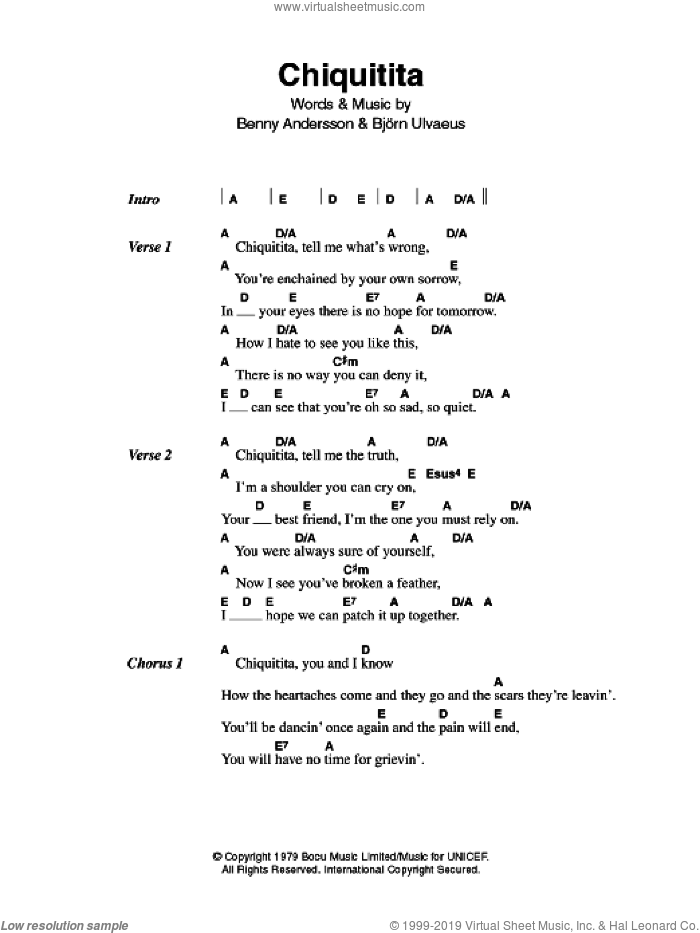 Chiquitita sheet music for guitar (chords) by ABBA, Benny Andersson and Bjorn Ulvaeus, intermediate skill level