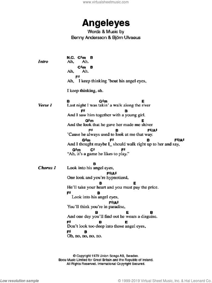 Angeleyes sheet music for guitar (chords) by Bjorn Ulvaeus