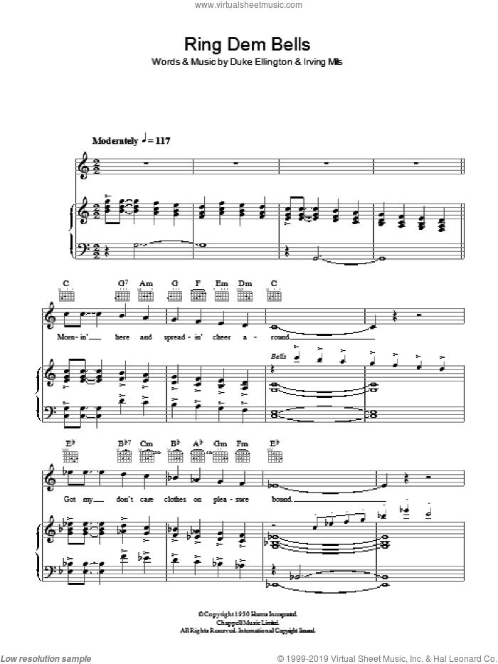 Ring Dem Bells sheet music for voice, piano or guitar by Duke Ellington and Irving Mills, intermediate voice, piano or guitar. Score Image Preview.