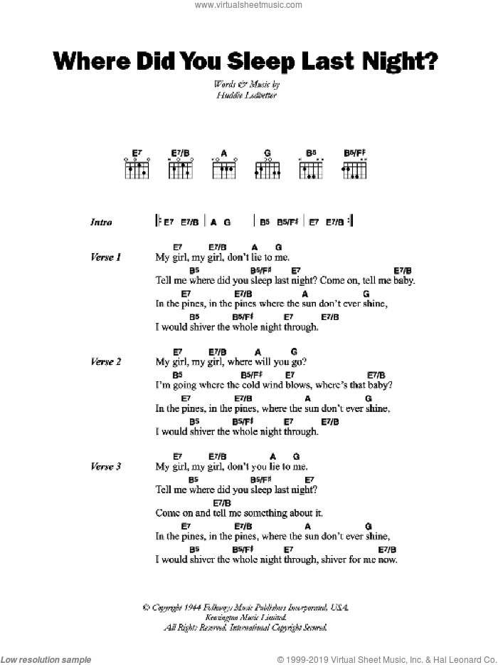Where Did You Sleep Last Night sheet music for guitar (chords) by Huddie Ledbetter and Lead Belly, intermediate skill level