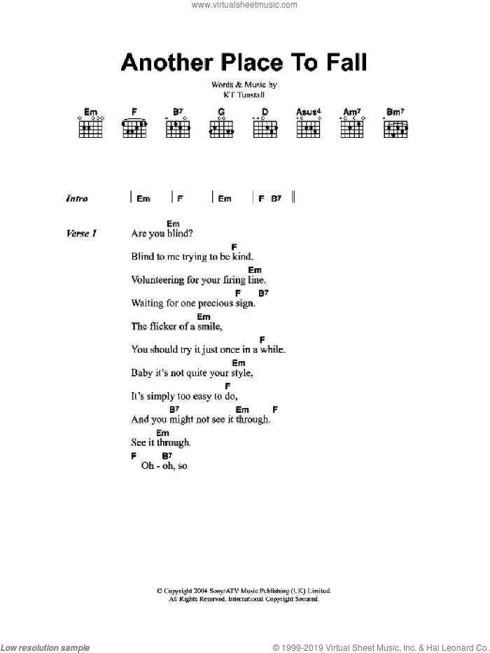 Another Place To Fall sheet music for guitar (chords) by KT Tunstall, intermediate skill level