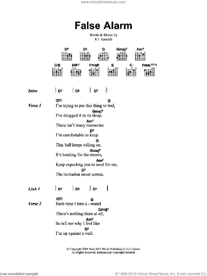 False Alarm sheet music for guitar (chords, lyrics, melody) by KT Tunstall