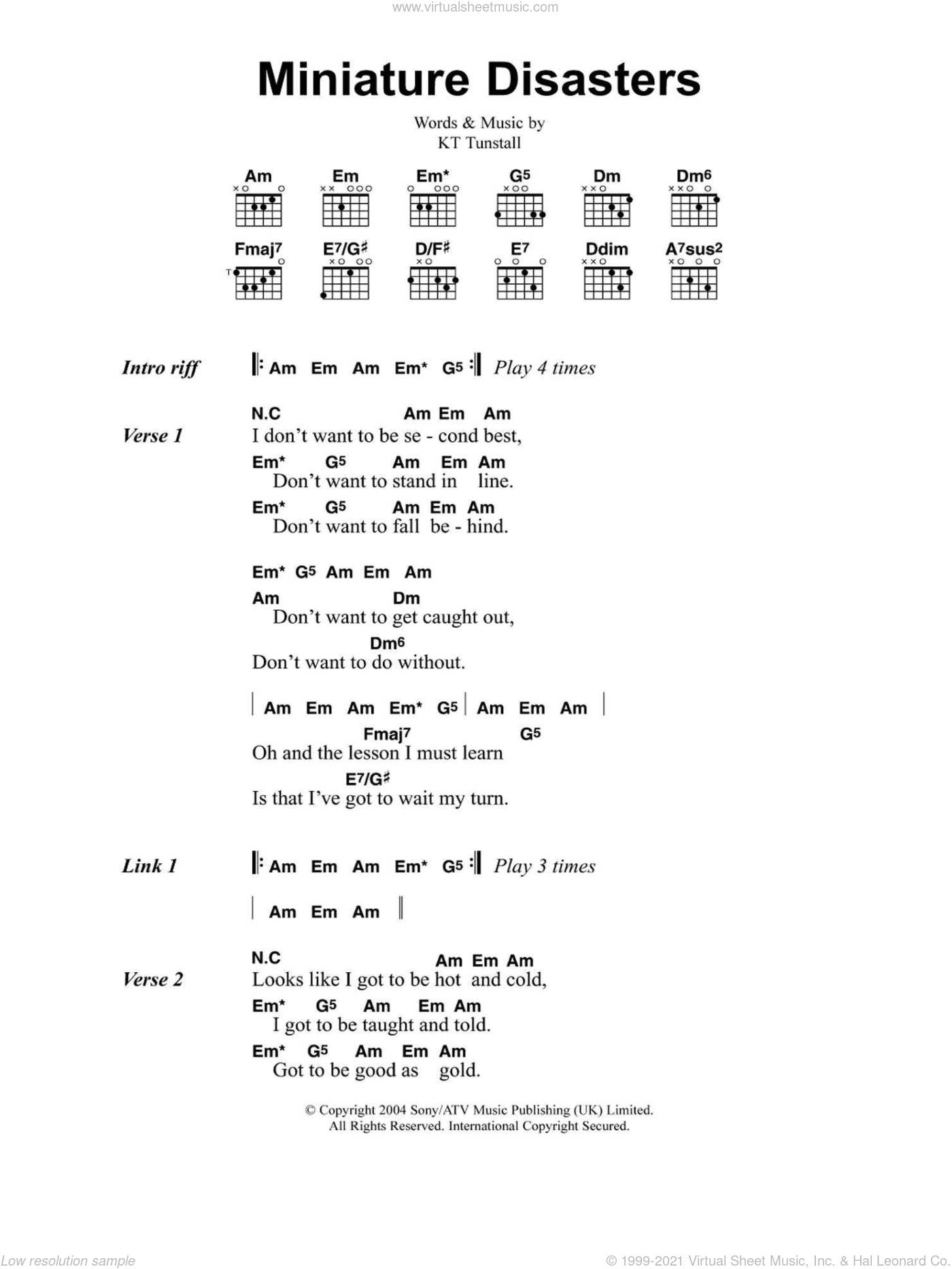 Miniature Disasters sheet music for guitar (chords) by KT Tunstall. Score Image Preview.