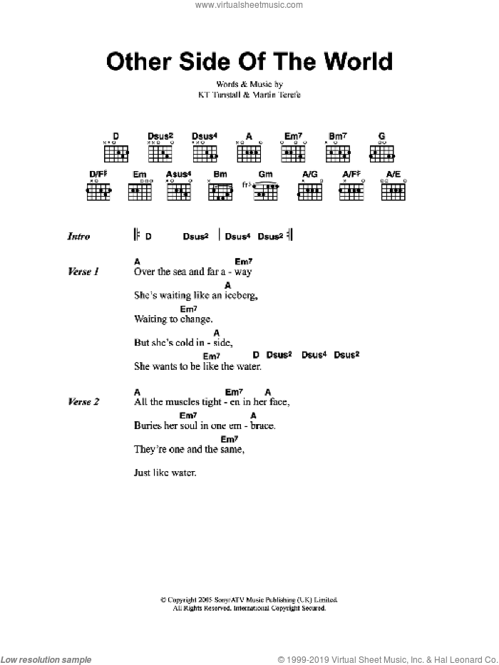 Other Side Of The World sheet music for guitar (chords) by KT Tunstall and Martin Terefe, intermediate. Score Image Preview.
