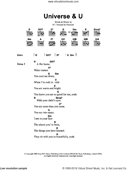 Universe and U sheet music for guitar (chords) by Pleasure