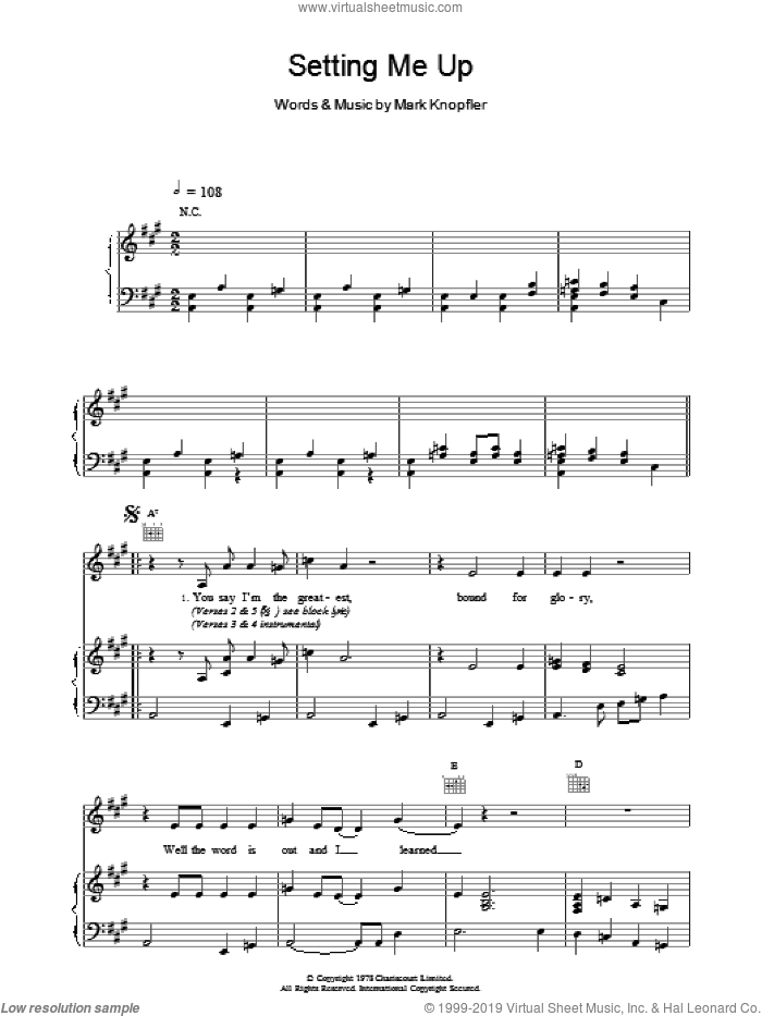 Setting Me Up sheet music for voice, piano or guitar by Dire Straits. Score Image Preview.