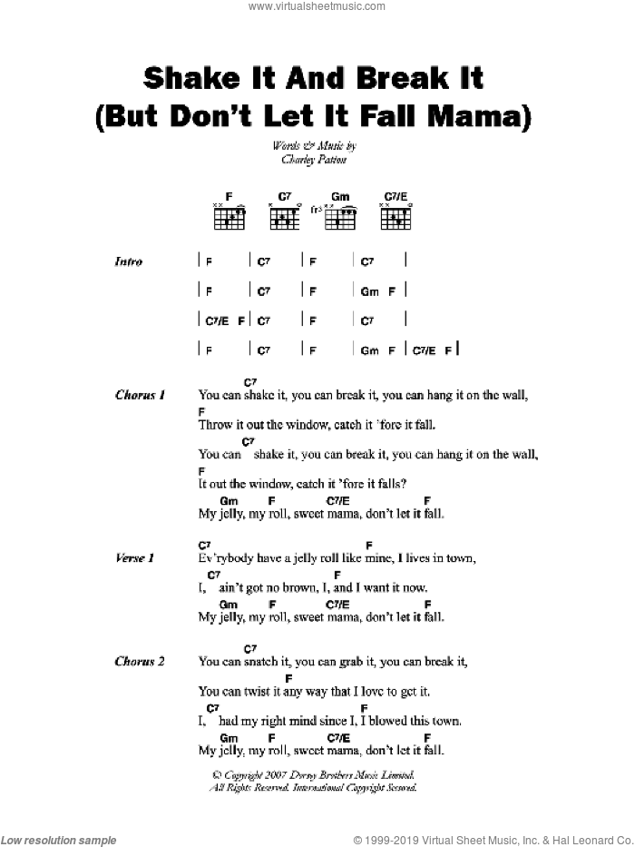 Shake It And Break It (But Don't Let It Fall Mama) sheet music for guitar (chords) by Charley Patton. Score Image Preview.