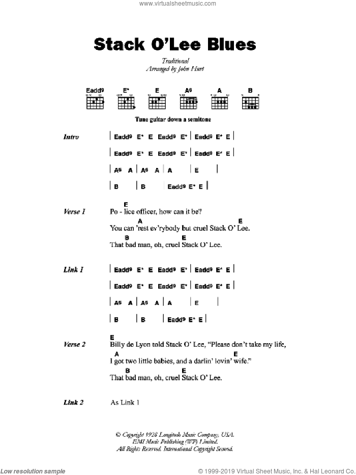 Stack O' Lee Blues sheet music for guitar (chords) , John Hurt and Mississippi John Hurt. Score Image Preview.