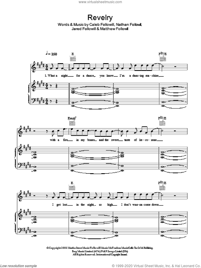 Revelry sheet music for voice, piano or guitar by Caleb Followill, Kings Of Leon, Matthew Followill and Nathan Followill. Score Image Preview.