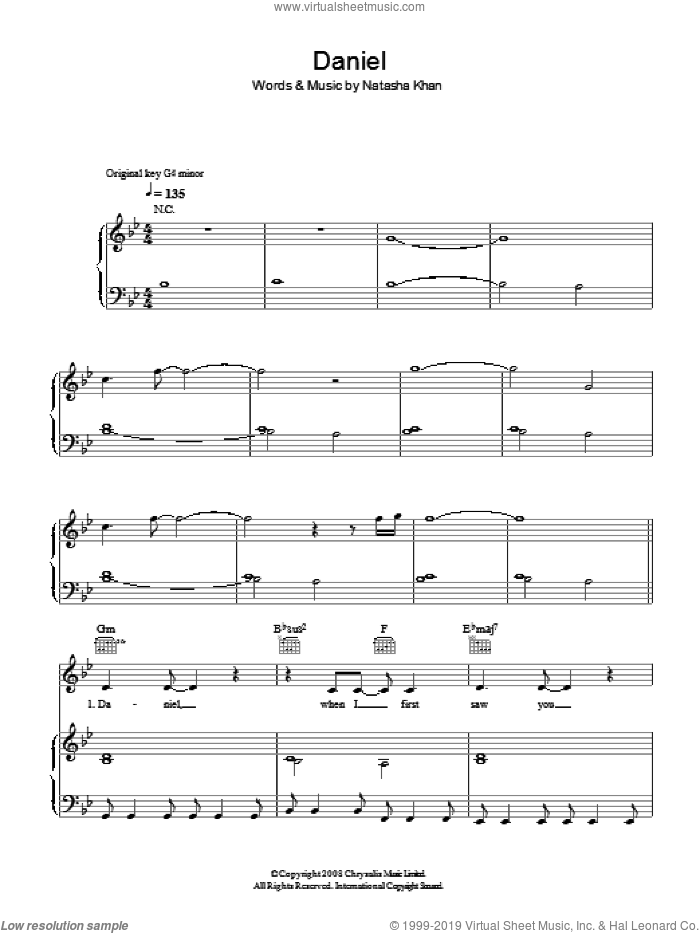 Daniel sheet music for voice, piano or guitar by Bat For Lashes. Score Image Preview.