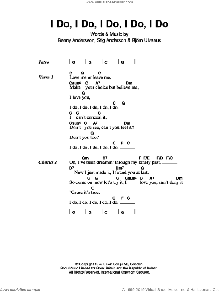 I Do, I Do, I Do, I Do, I Do sheet music for guitar (chords) by ABBA, Benny Andersson, Bjorn Ulvaeus and Stig Anderson, intermediate
