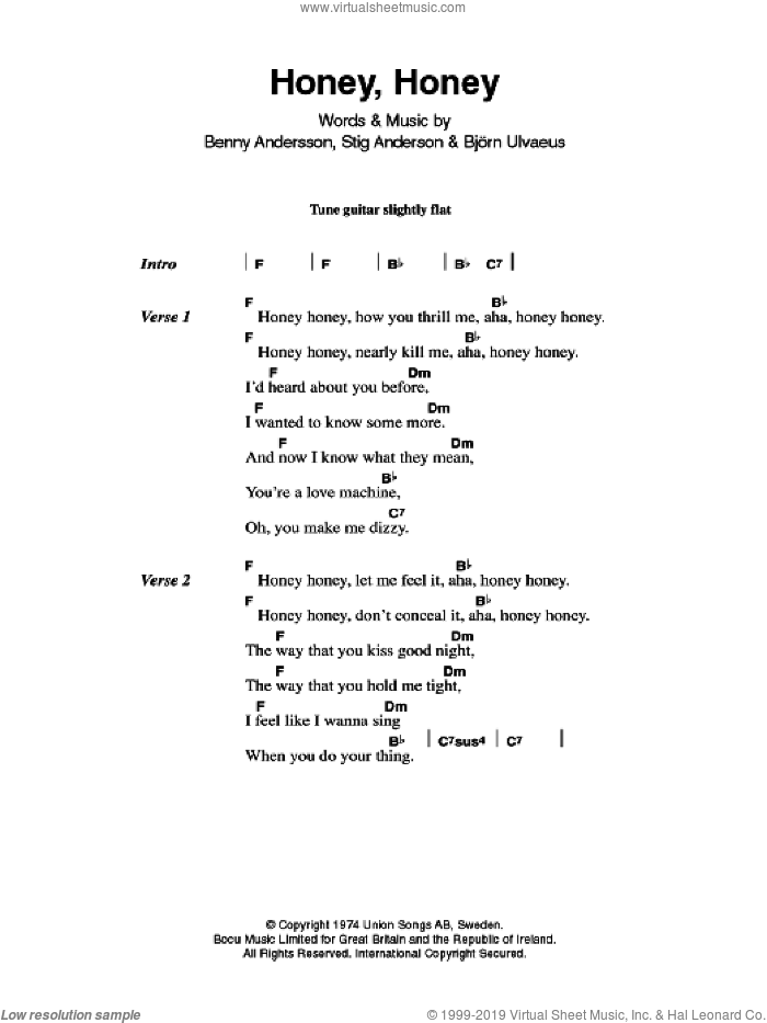 Honey, Honey sheet music for guitar (chords, lyrics, melody) by Benny Andersson