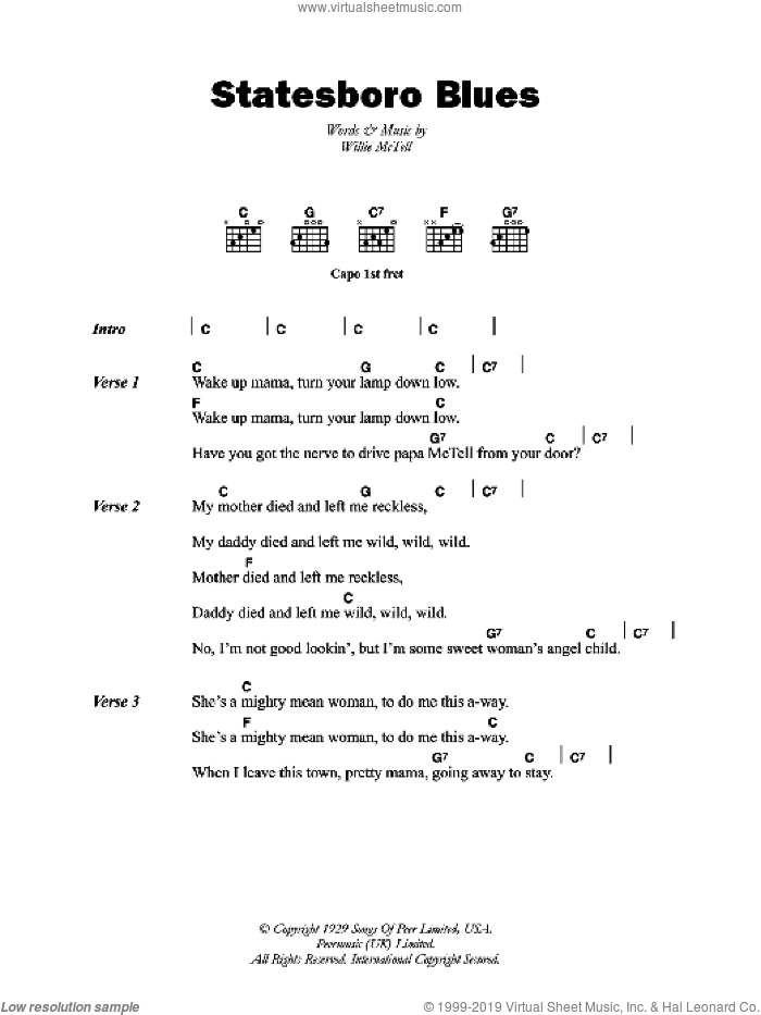 Statesboro Blues sheet music for guitar (chords) by Willie McTell