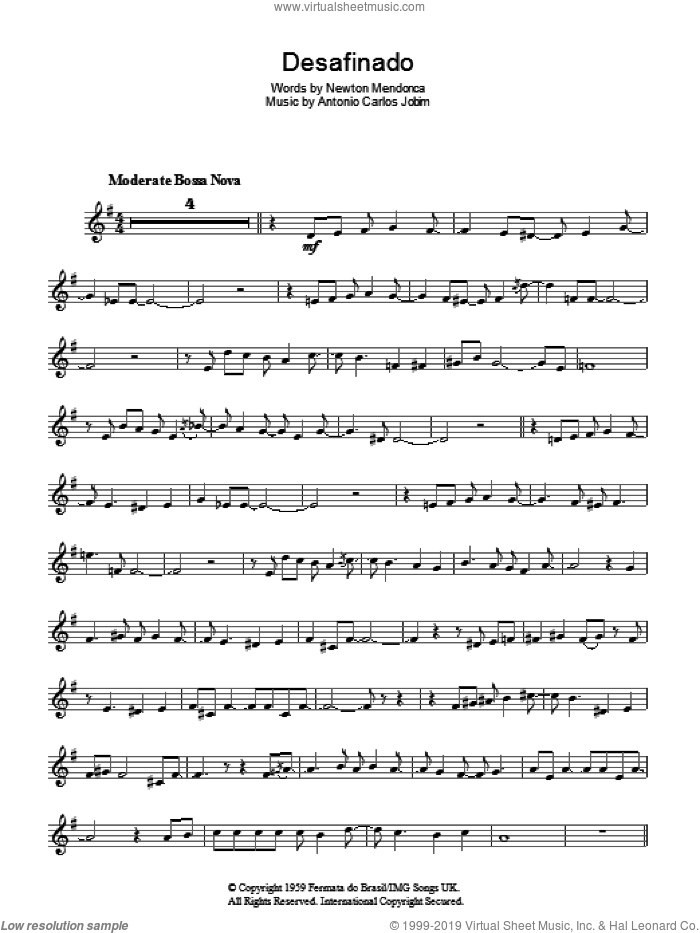 Desafinado (Slightly Out Of Tune) sheet music for voice and other instruments (fake book) by Newton Mendonca and Antonio Carlos Jobim. Score Image Preview.