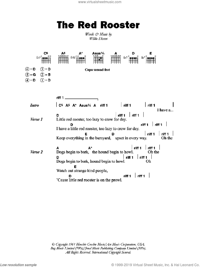 Little Red Rooster sheet music for guitar (chords) by The Rolling Stones and Willie Dixon, intermediate skill level