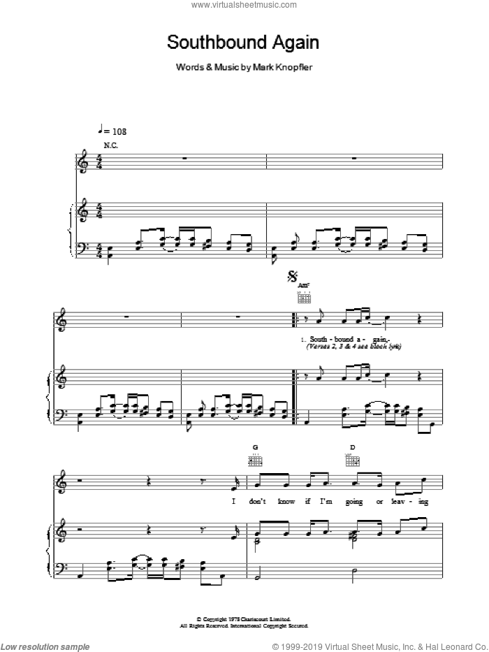 Southbound Again sheet music for voice, piano or guitar by Dire Straits, intermediate. Score Image Preview.
