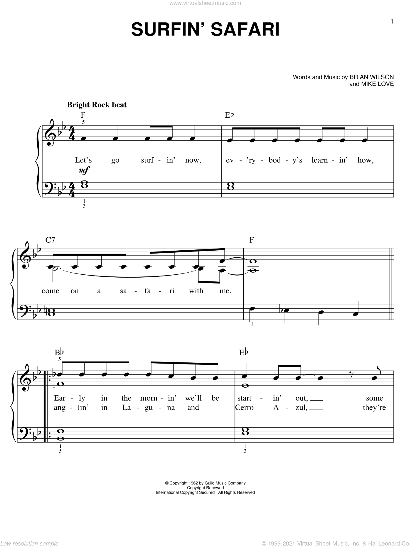 Surfin' Safari sheet music for piano solo by The Beach Boys, Brian Wilson and Mike Love, easy skill level