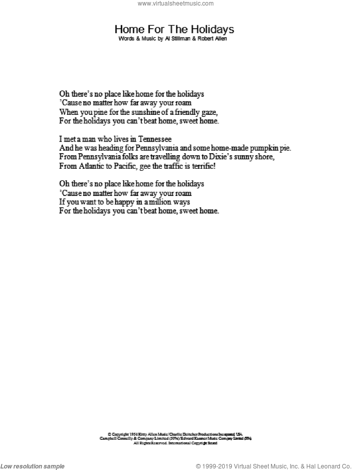 (There's No Place Like) Home For The Holidays sheet music for voice and other instruments (lyrics only) by Perry Como, Al Stillman and Robert Allen, intermediate skill level