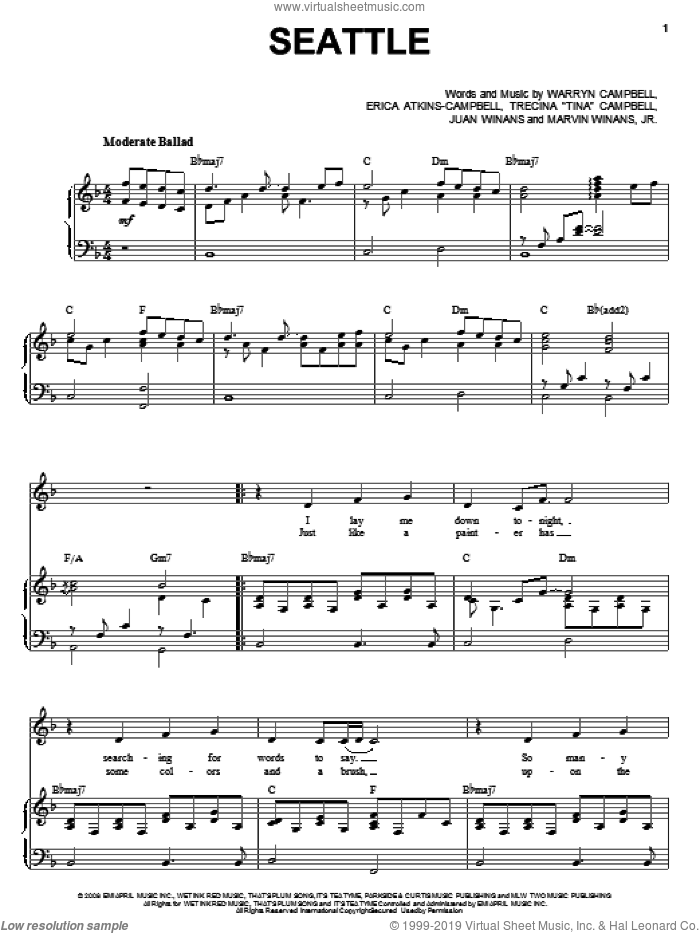 Seattle sheet music for voice, piano or guitar by Warryn Campbell. Score Image Preview.