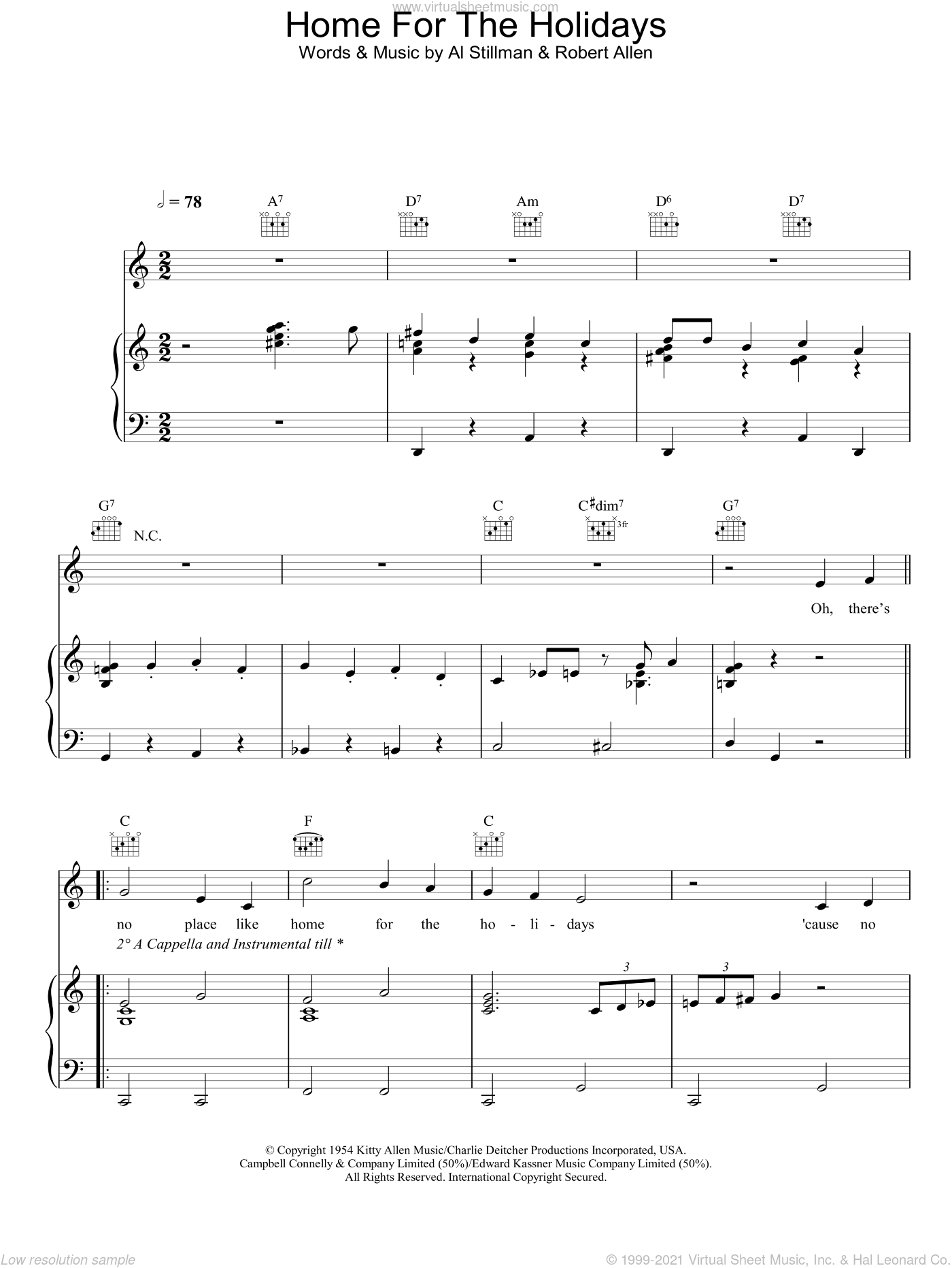 (There's No Place Like) Home For The Holidays sheet music for voice, piano or guitar by Perry Como, Al Stillman and Robert Allen, intermediate skill level