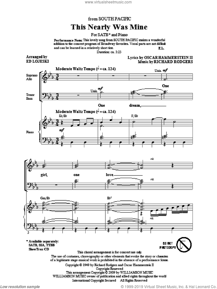 This Nearly Was Mine (from South Pacific) sheet music for choir and piano (SATB) by Oscar II Hammerstein, Ed Lojeski and Richard Rodgers. Score Image Preview.