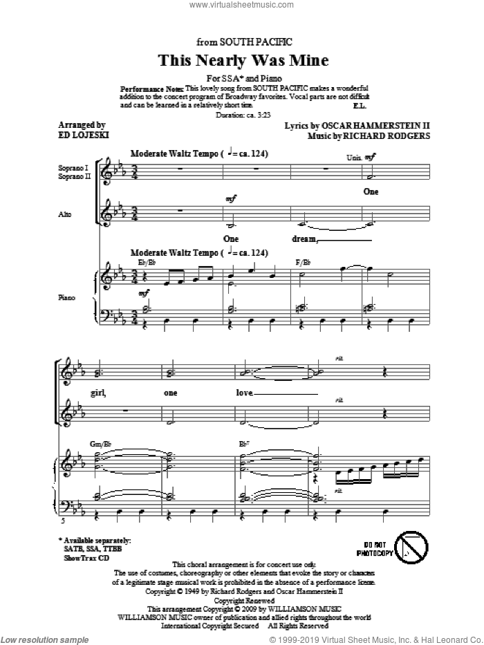 This Nearly Was Mine (from South Pacific) sheet music for choir and piano (SSA) by Oscar II Hammerstein, Ed Lojeski and Richard Rodgers. Score Image Preview.