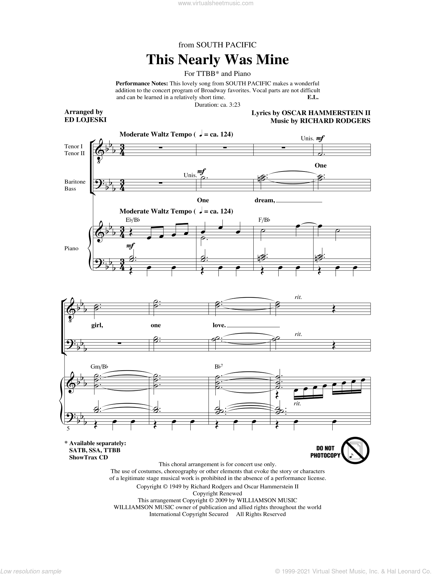 This Nearly Was Mine (from South Pacific) sheet music for choir (tenor voice, bass voice, choir) by Oscar II Hammerstein, Richard Rodgers and Ed Lojeski. Score Image Preview.