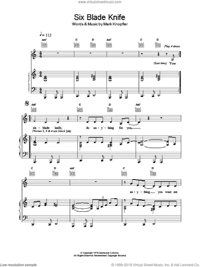 Six Blade Knife sheet music for voice, piano or guitar by Dire Straits, intermediate. Score Image Preview.