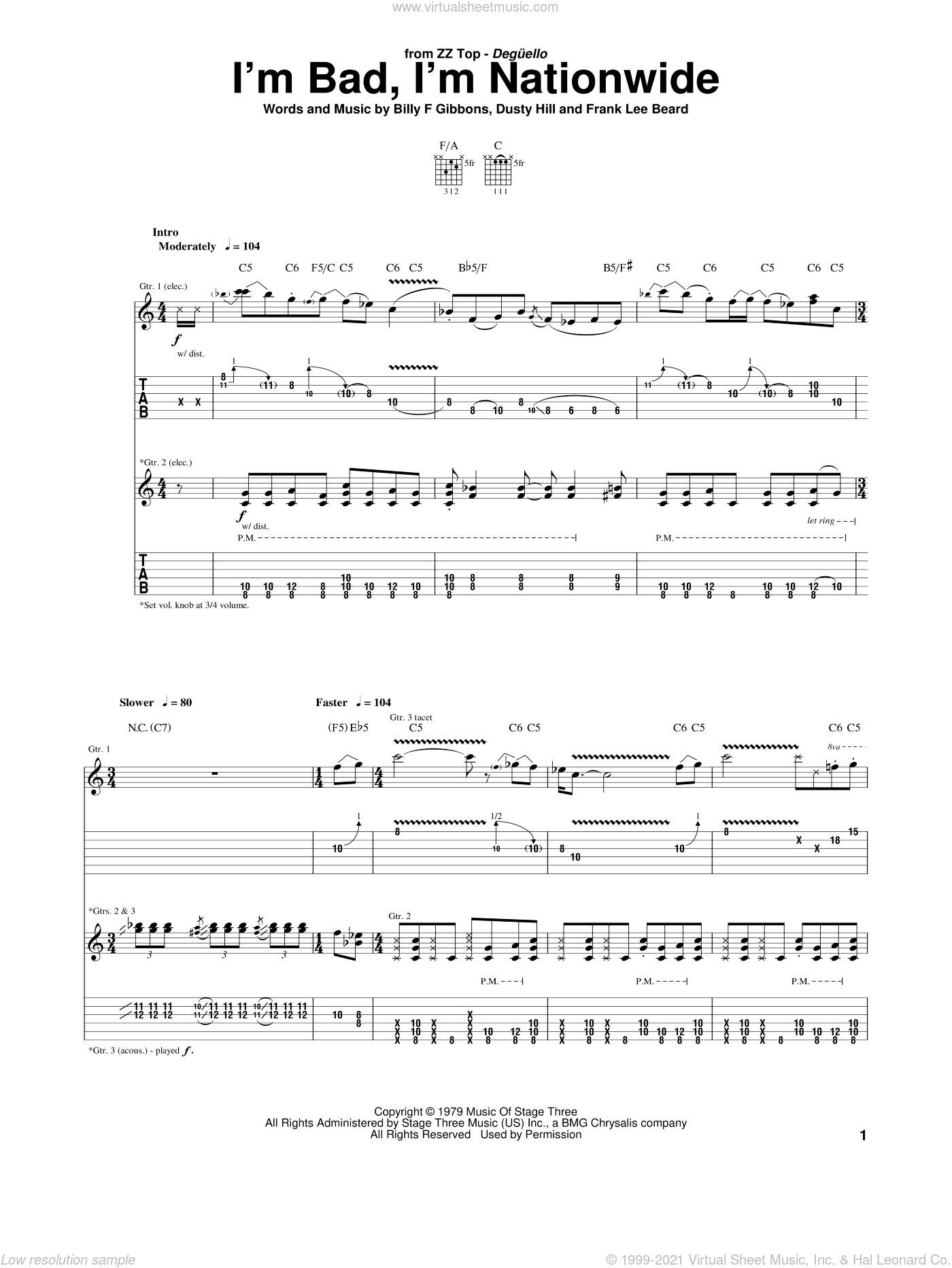 I'm Bad, I'm Nationwide sheet music for guitar (tablature) by Frank Beard, ZZ Top, Billy Gibbons and Dusty Hill. Score Image Preview.