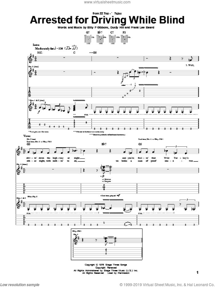 Arrested For Driving While Blind sheet music for guitar (tablature) by Frank Beard, ZZ Top, Billy Gibbons and Dusty Hill