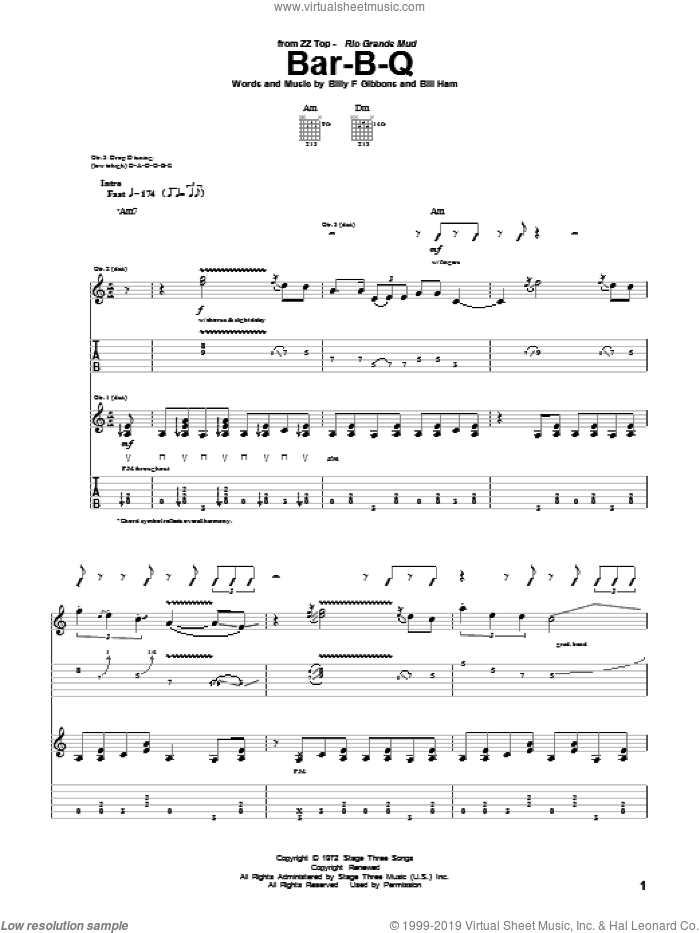 Bar-B-Q sheet music for guitar (tablature) by ZZ Top. Score Image Preview.