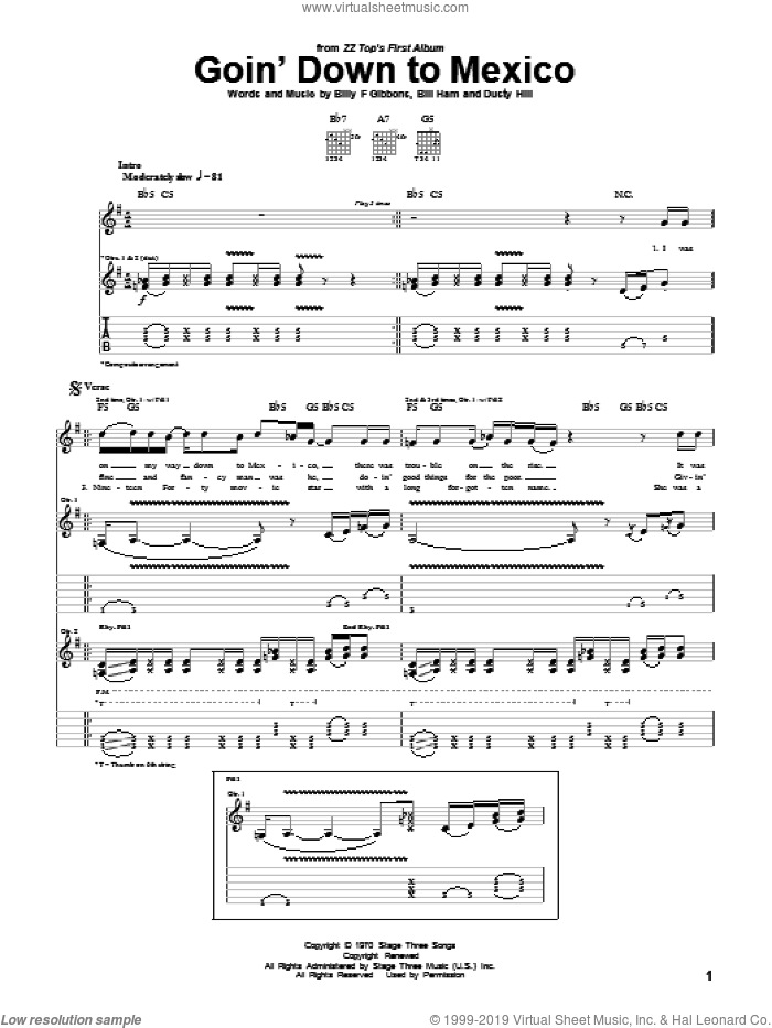 Goin' Down To Mexico sheet music for guitar (tablature) by ZZ Top. Score Image Preview.