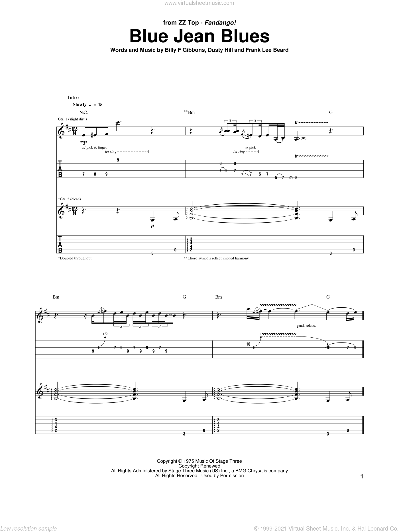 Blue Jean Blues sheet music for guitar (tablature) by Frank Beard, ZZ Top, Billy Gibbons and Dusty Hill. Score Image Preview.