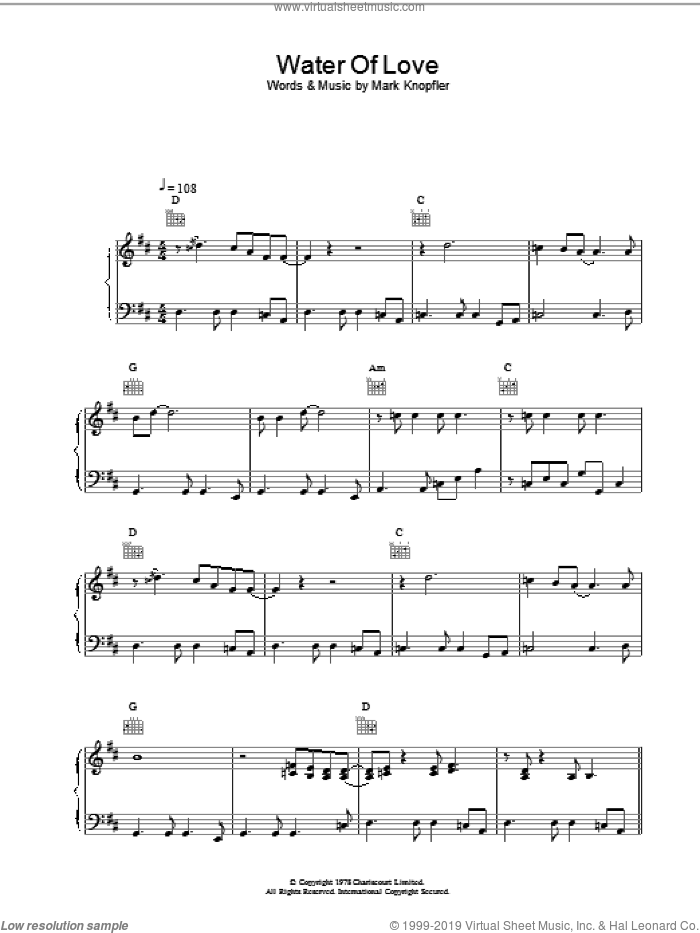 Water of Love sheet music for voice, piano or guitar by Dire Straits, intermediate skill level