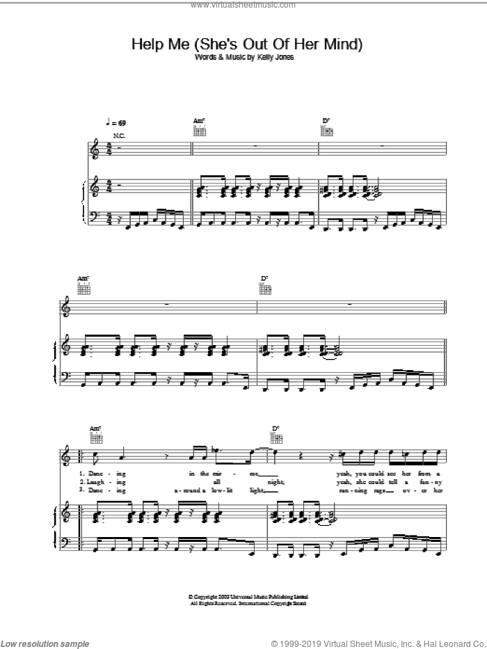 Help Me (She's Out Of Her Mind) sheet music for voice, piano or guitar by Stereophonics