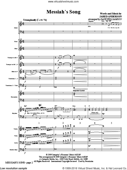 Messiah's Song (COMPLETE) sheet music for orchestra by Jared Anderson and Dave Williamson, intermediate. Score Image Preview.