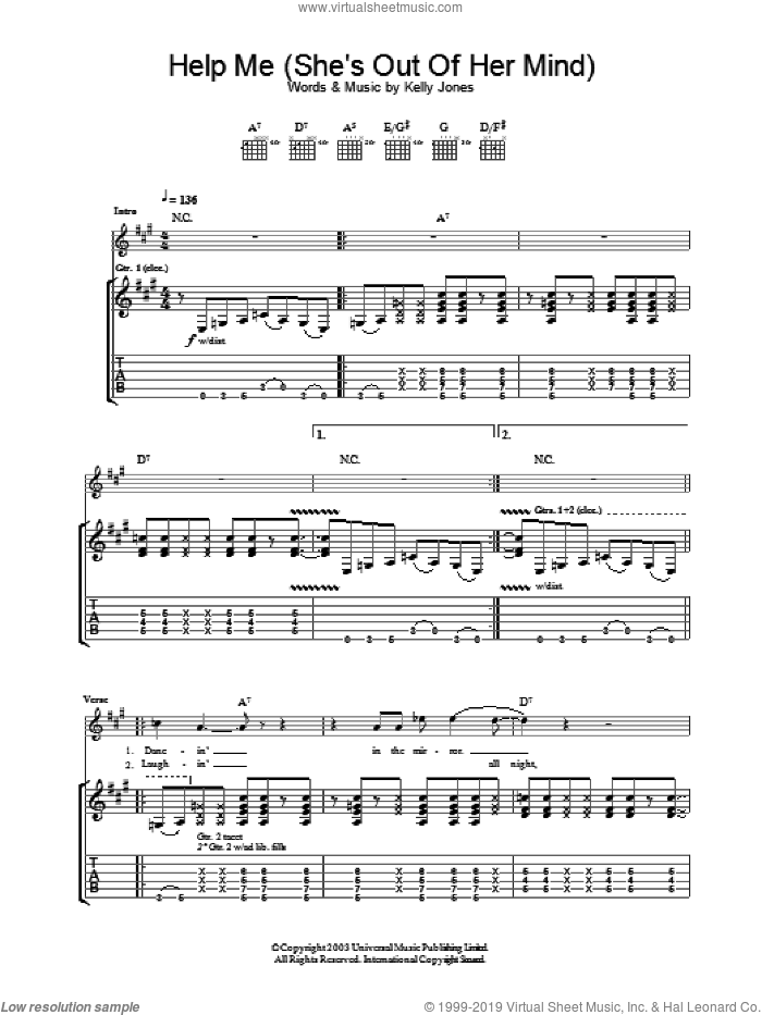 Help Me (She's Out Of Her Mind) sheet music for guitar (tablature) by Stereophonics. Score Image Preview.