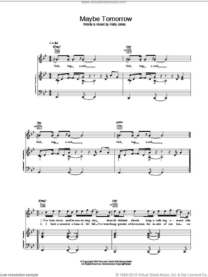 Maybe Tomorrow sheet music for voice, piano or guitar by Stereophonics, intermediate voice, piano or guitar. Score Image Preview.