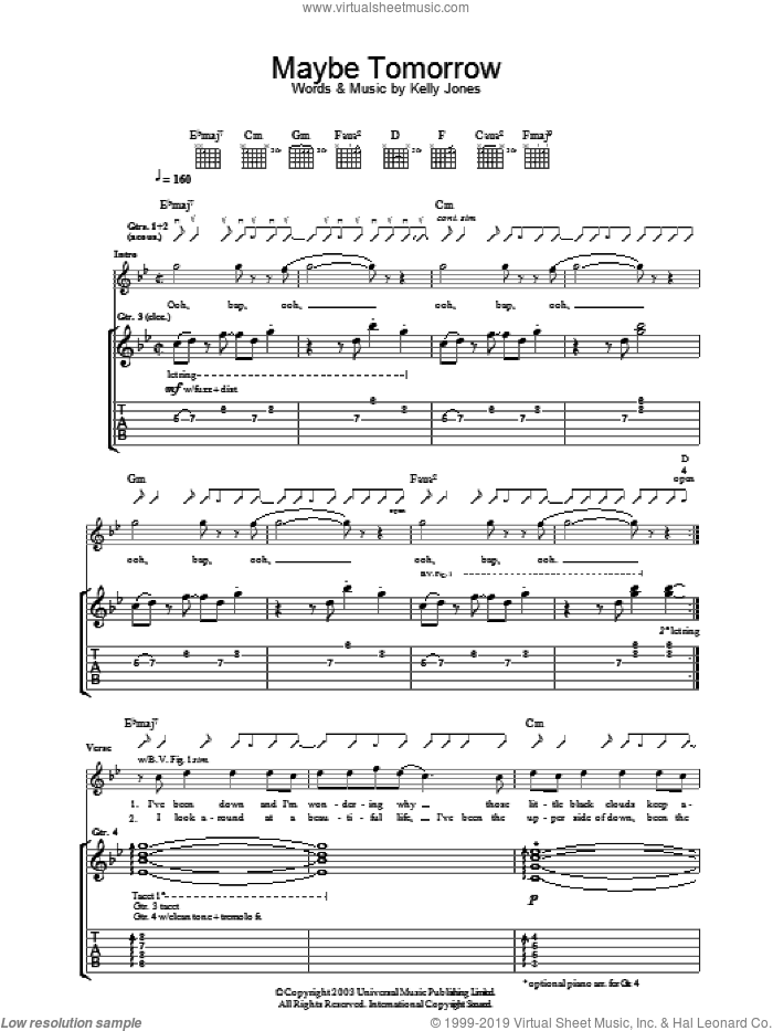 Maybe Tomorrow sheet music for guitar (tablature) by Stereophonics, intermediate. Score Image Preview.