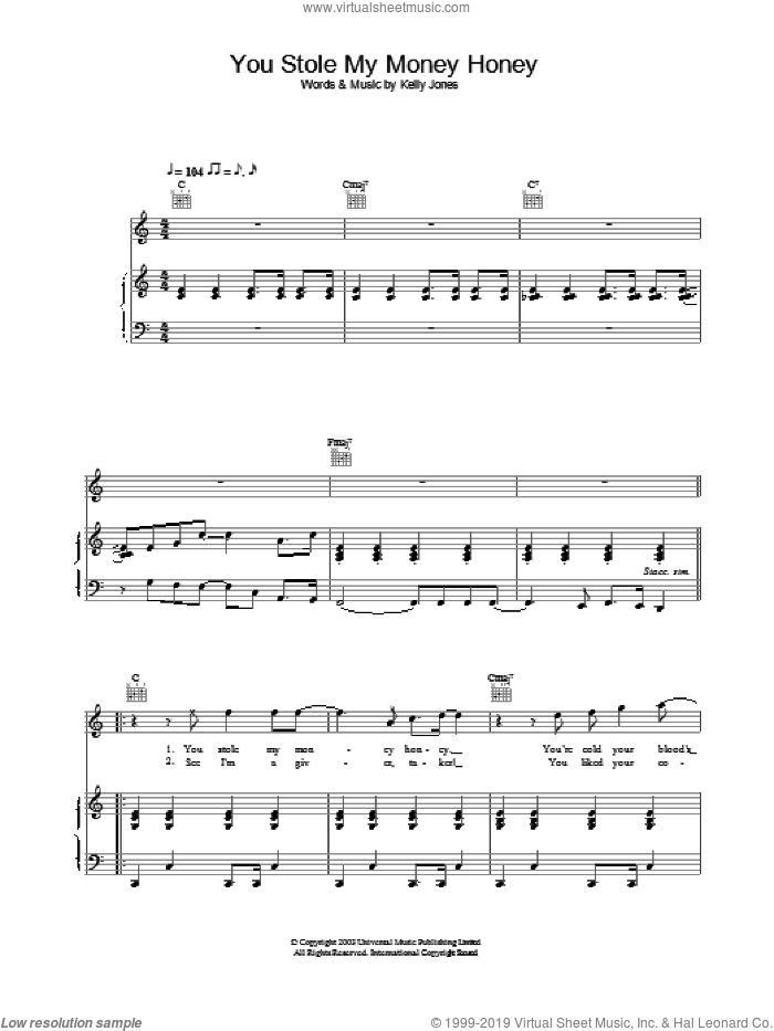 You Stole My Money Honey sheet music for voice, piano or guitar by Stereophonics. Score Image Preview.