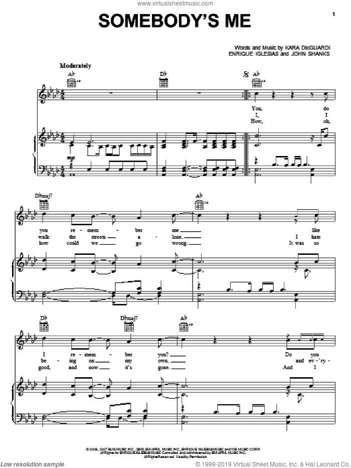 Somebody's Me sheet music for voice, piano or guitar by John Shanks, Enrique Iglesias and Kara DioGuardi. Score Image Preview.