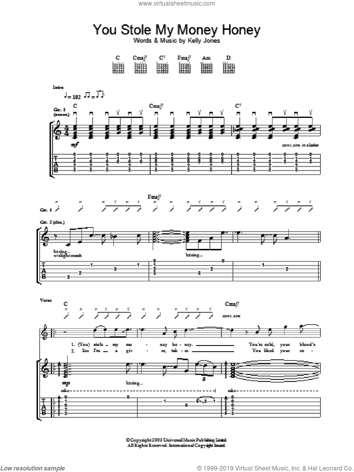 You Stole My Money Honey sheet music for guitar (tablature) by Stereophonics, intermediate skill level
