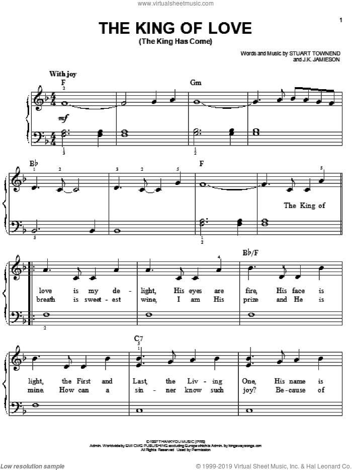 The King Of Love (The King Has Come) sheet music for piano solo by Stuart Townend, easy. Score Image Preview.