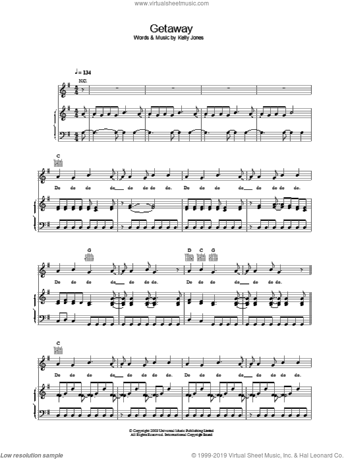 Getaway sheet music for voice, piano or guitar by Stereophonics, intermediate