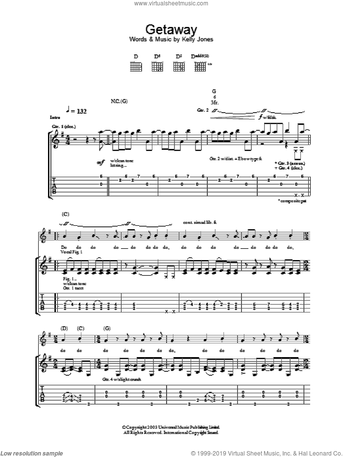 Getaway sheet music for guitar (tablature) by Stereophonics, intermediate skill level