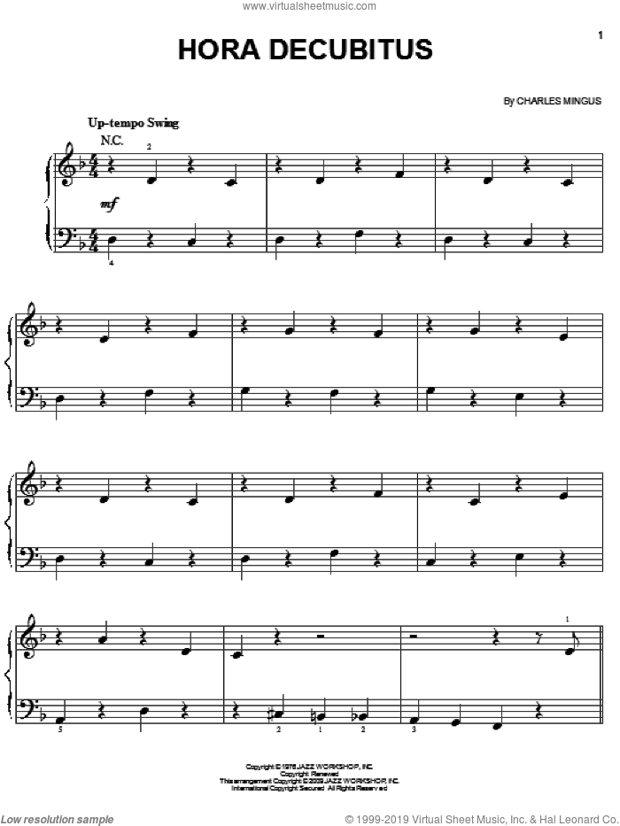 Hora Decubitus sheet music for piano solo by Charles Mingus, easy skill level