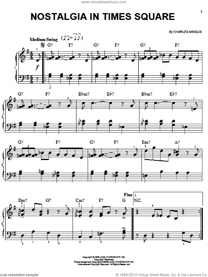 Nostalgia In Times Square sheet music for piano solo by Charles Mingus. Score Image Preview.