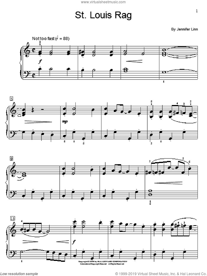 St. Louis Rag sheet music for piano solo (elementary) by Jennifer Linn and Miscellaneous, beginner piano (elementary)