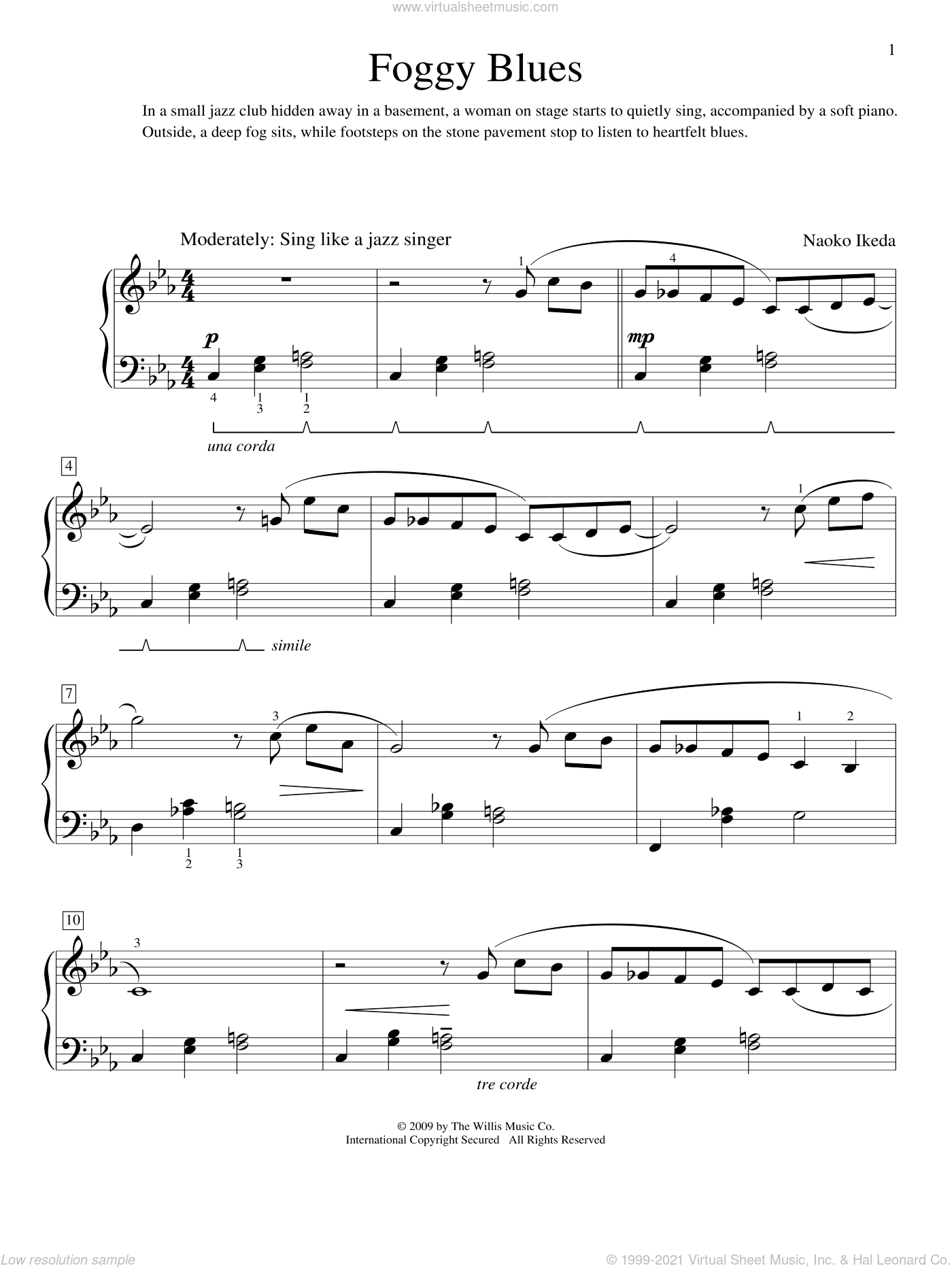 Foggy Blues sheet music for piano solo (elementary) by Naoko Ikeda. Score Image Preview.