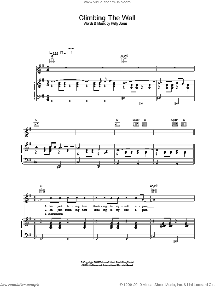 Climbing The Wall sheet music for voice, piano or guitar by Stereophonics, intermediate skill level